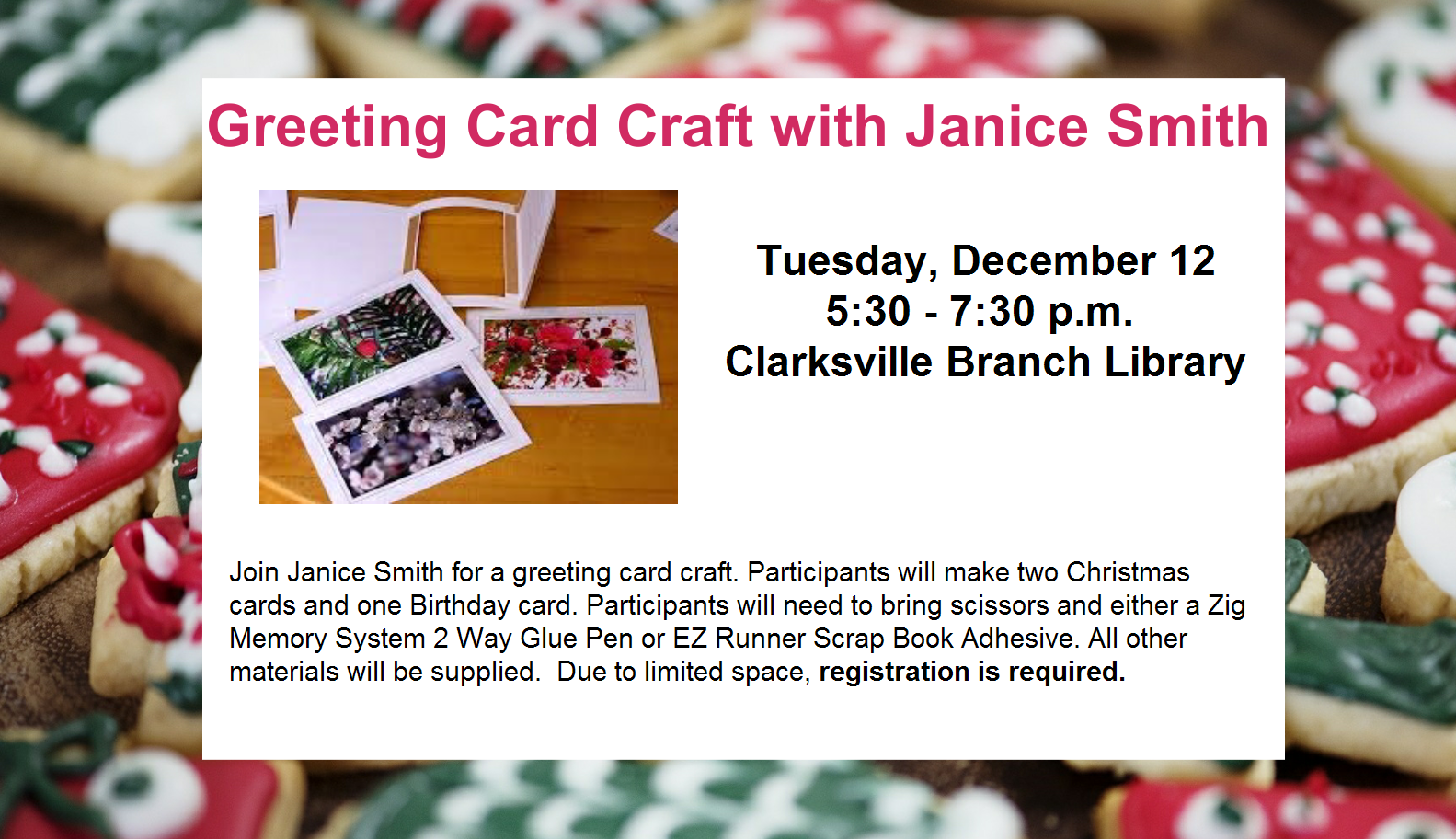 Greeting card craft project on December 12