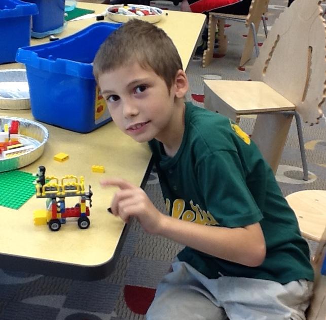 Having fun building with Legos
