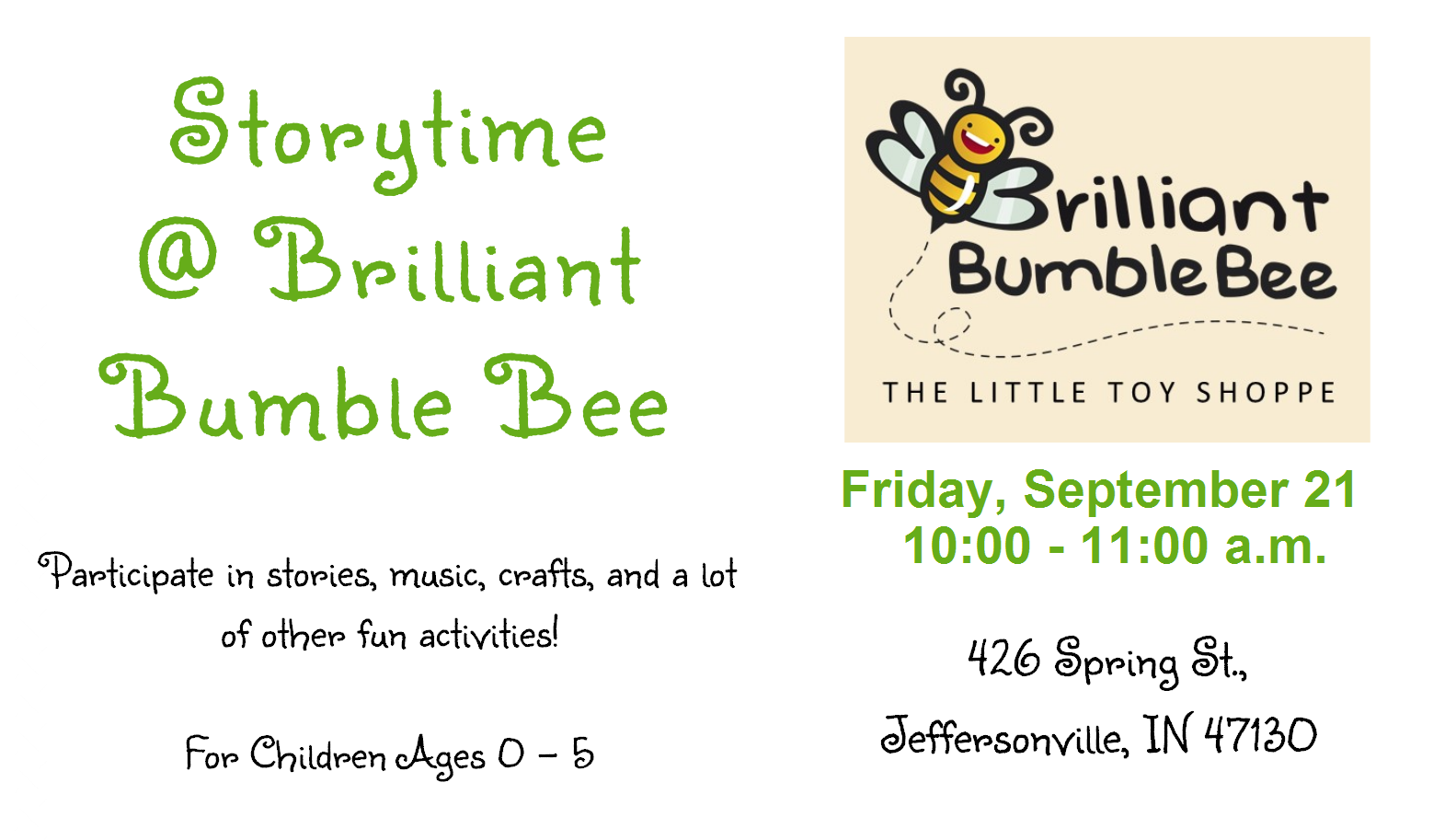 Storytime @ Brilliant Bumble Bee – September