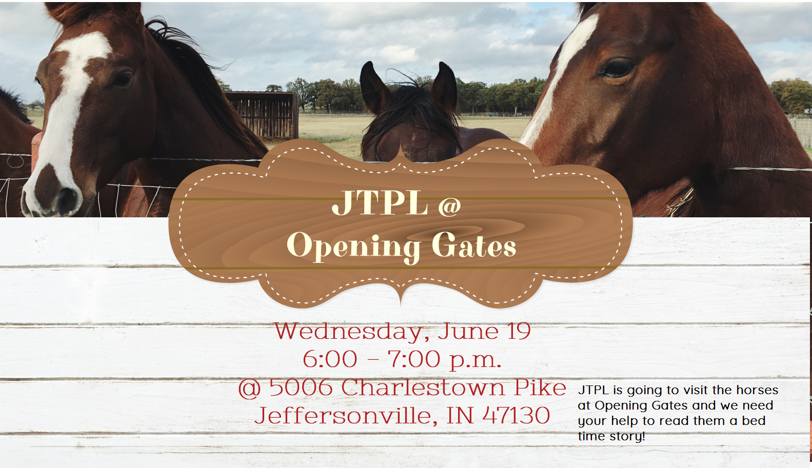 Flyer for storytime at Opening Gates