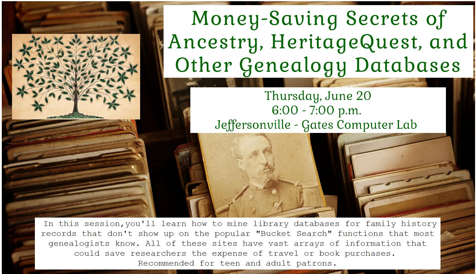 Flyer for genealogy program