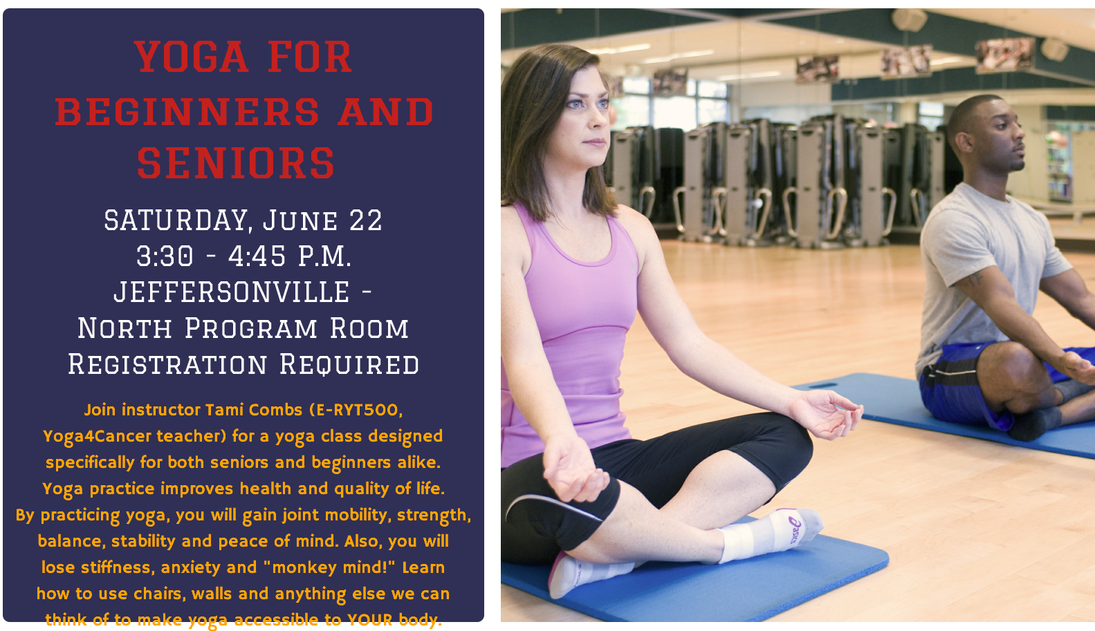 Flyer for monthly Yoga class
