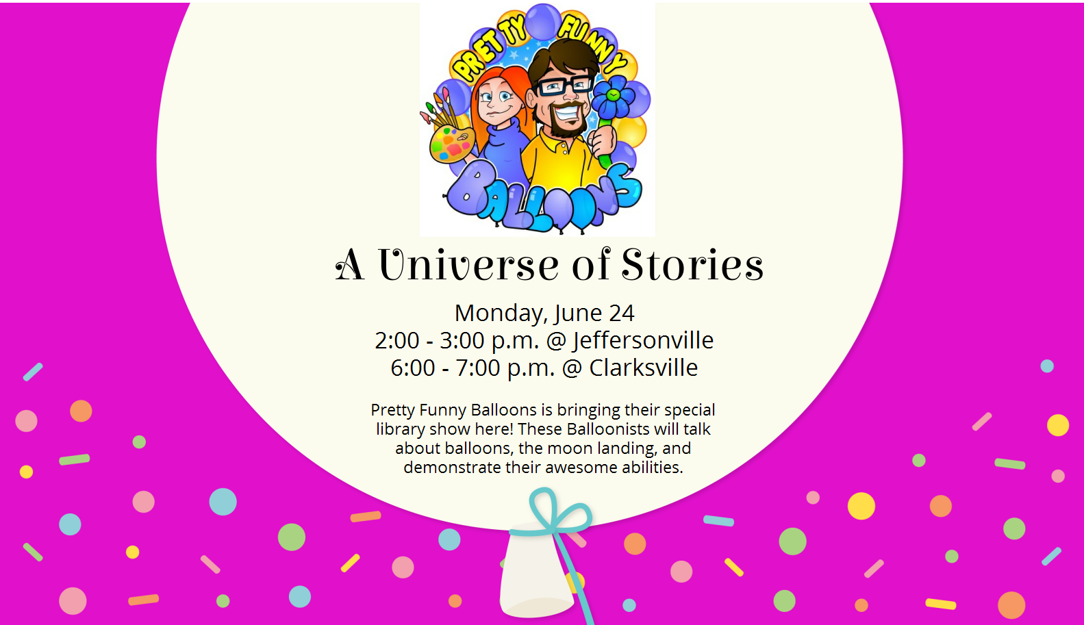Flyer for A Universe of Stories program for kids
