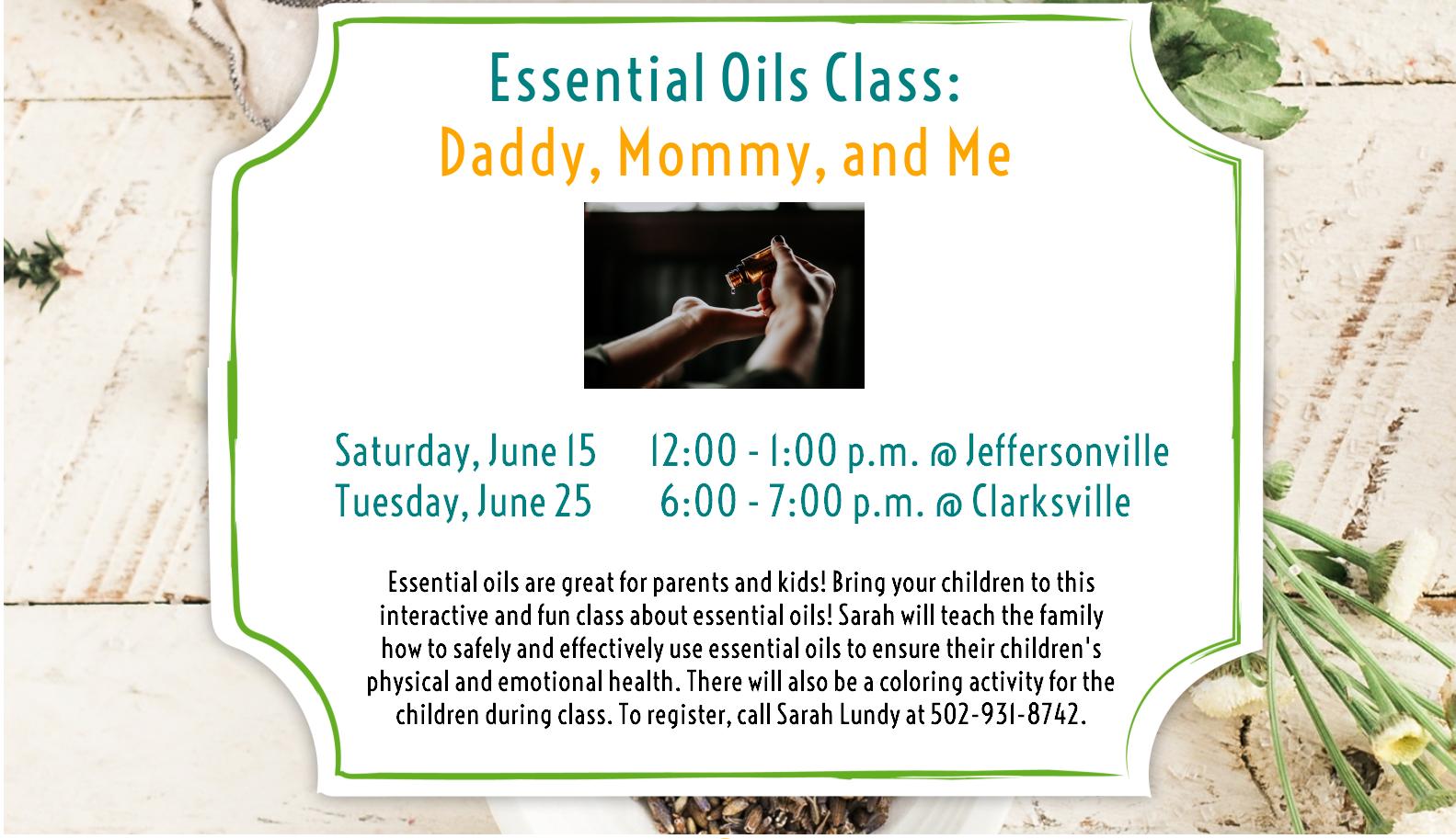 Flyer for monthly Essential Oils program
