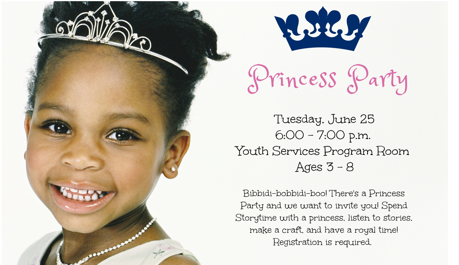 Flyer for the Princess Party