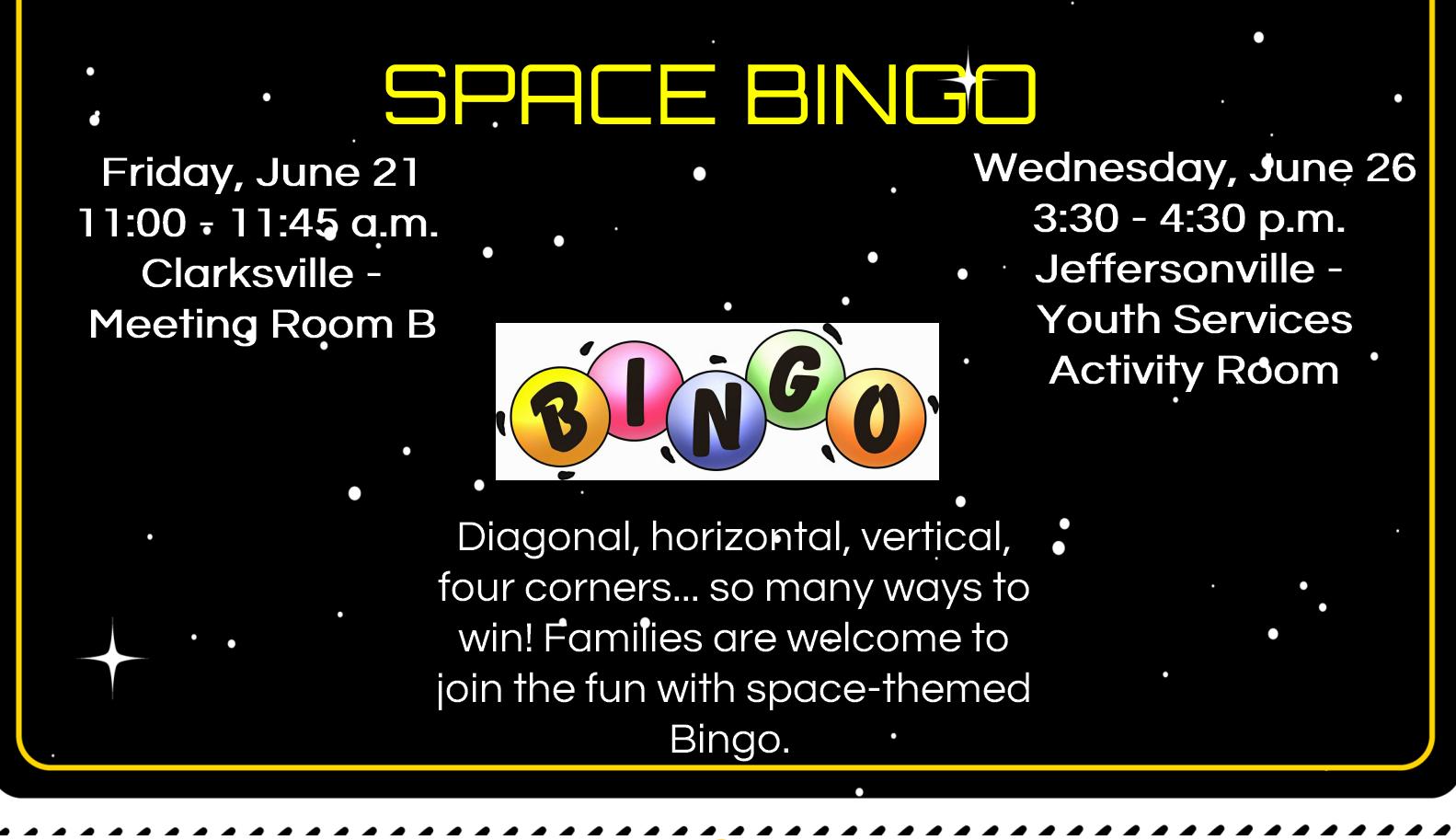 Flyer for Space Bingo