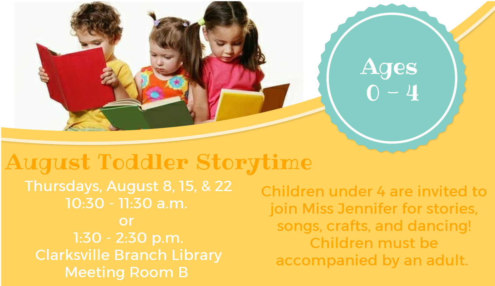 Flyer for the August 22nd Toddler Storytime