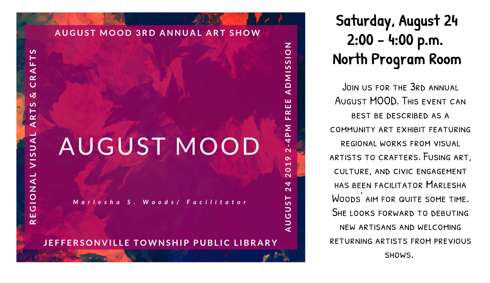 Flyer for the August MOOD art show on August 24th, 2019