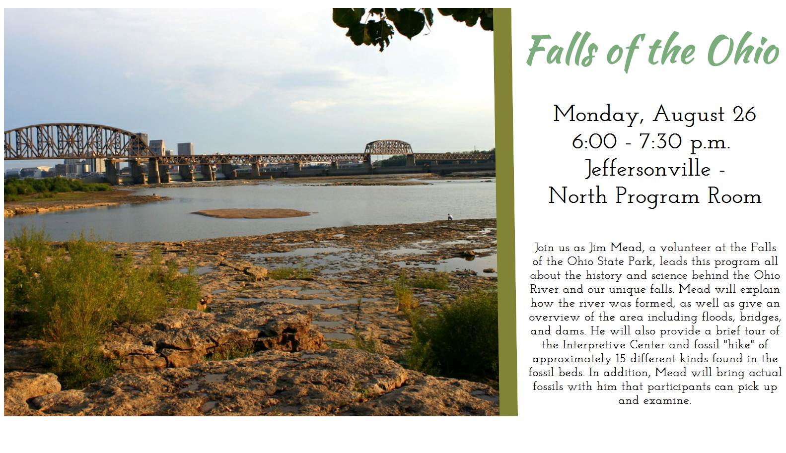 Flyer for the Falls of the Ohio historical program on August 26th, 2019