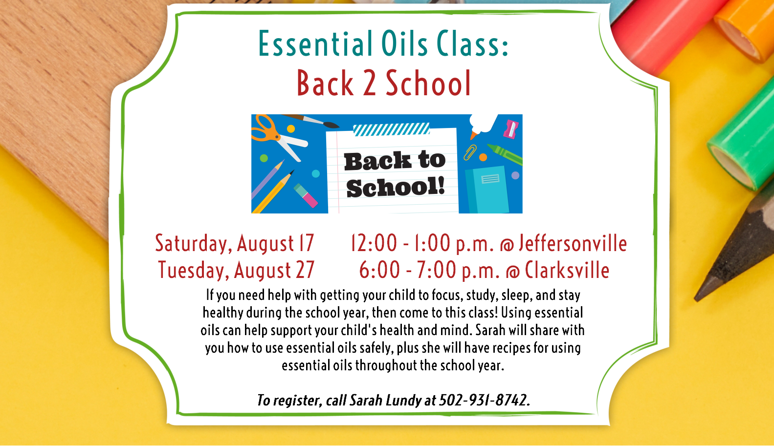 Flyer for the Essential Oils program on August 27th, 2019