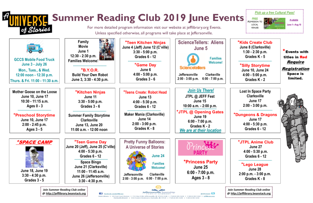 Calendar of Summer Reading events in June 2019