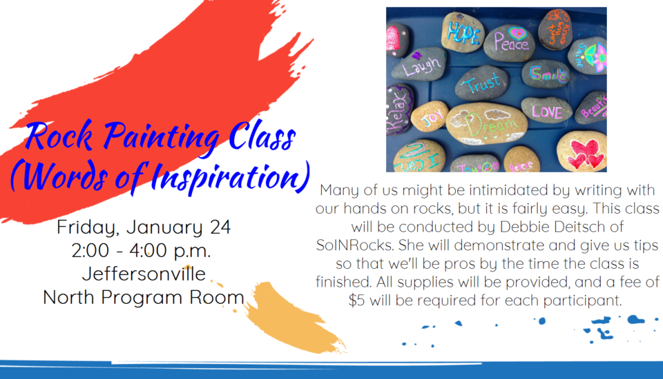 Flyer advertising Rock Painting Class on 24 January 2020