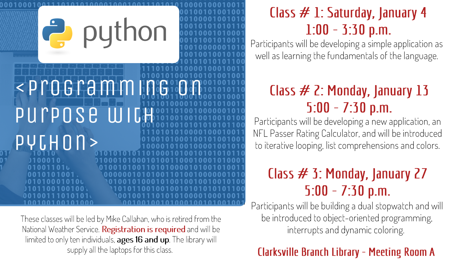 Flyer advertising Python programming classes on 4, 13, and 27 January 2020