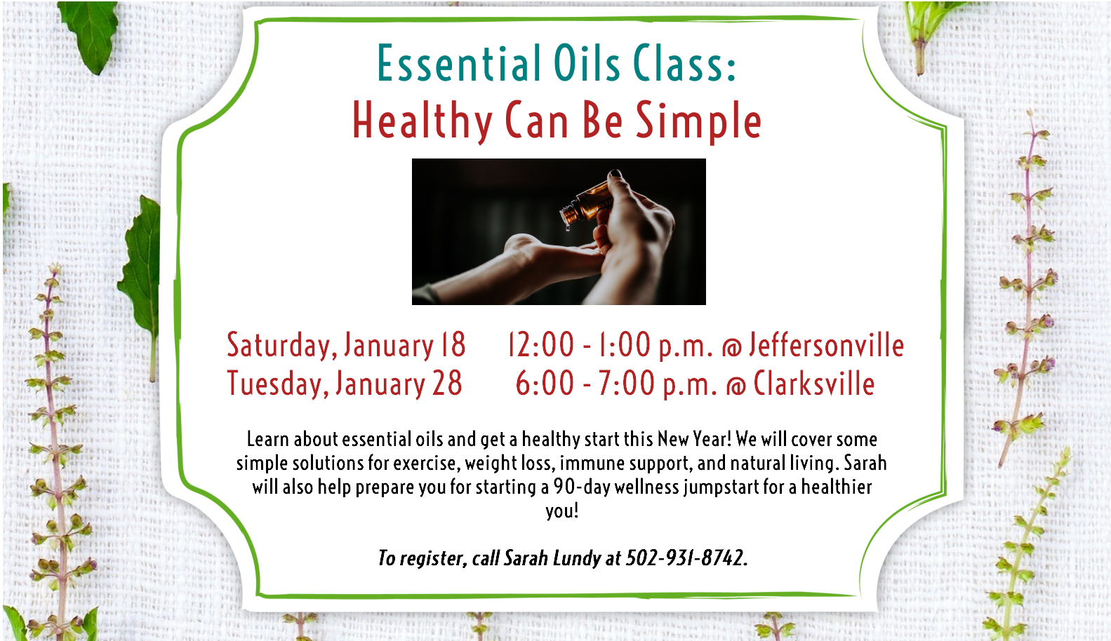 Flyer advertising Essential Oils classes on 18 and 28 January 2020