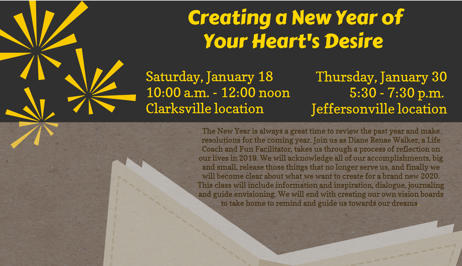 """Flyer advertising """"Creating a New Year of Your Heart's Desire"""" on 18 and 30 January 2020"""