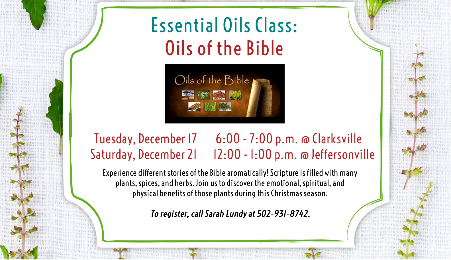 Flyer for Essential Oils classes