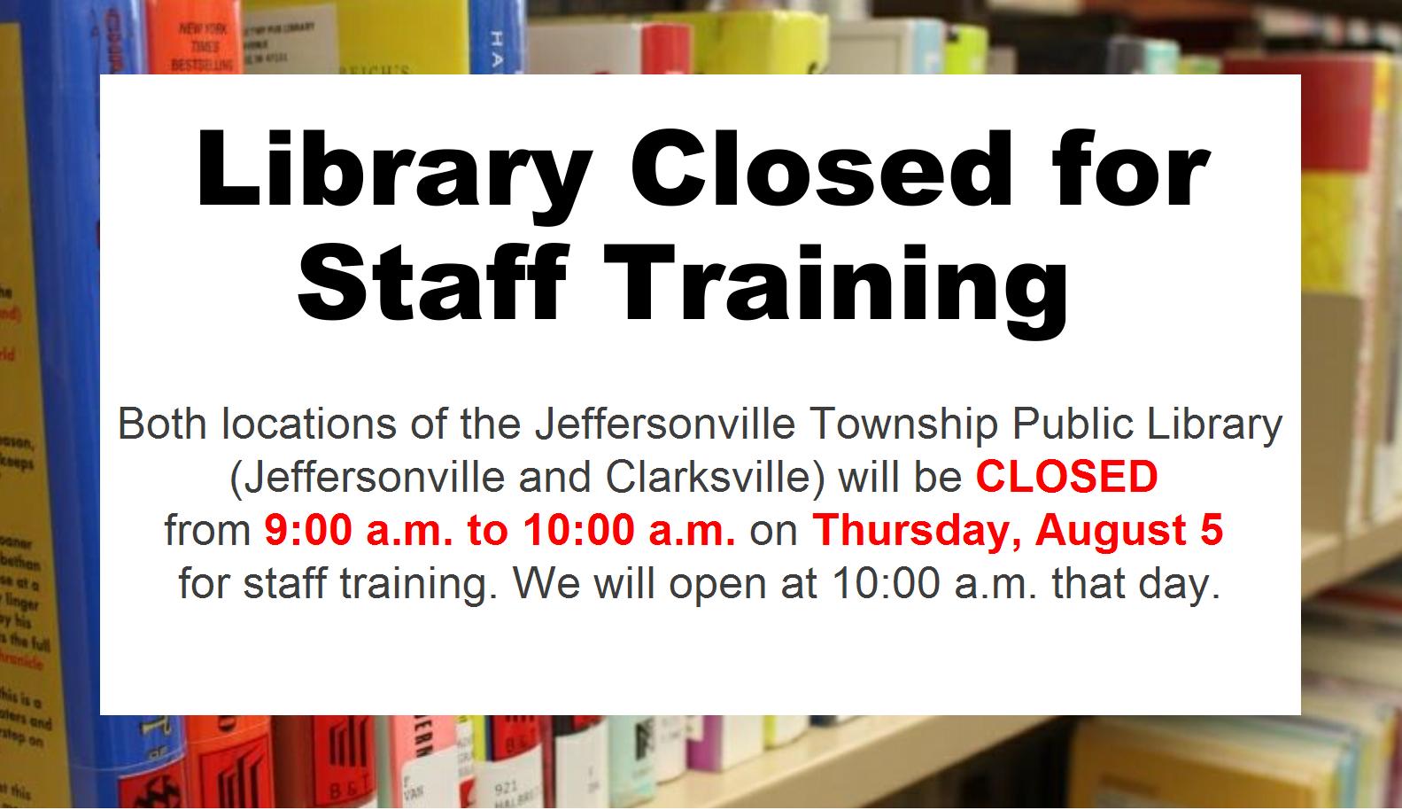 Staff Training on August 5
